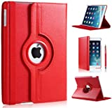 DN-TECHNOLOGY® 360 Degree Rotating Leather Case Cover Stand for iPad 2 iPad 3 Red