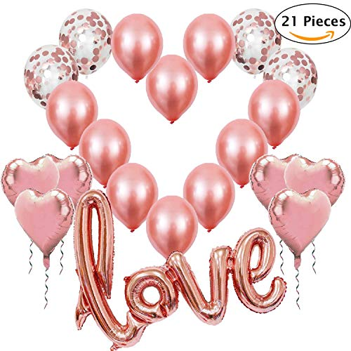 Romantische Deko Rosegold Luftballons Hochzeit XXL Love Folienballon Rose Gold Folienballon Hertz Konfetti Ballon Set für Romantische Deko Hochzeitsdeko Valentinstag Dekoration Heiratsantrag Party