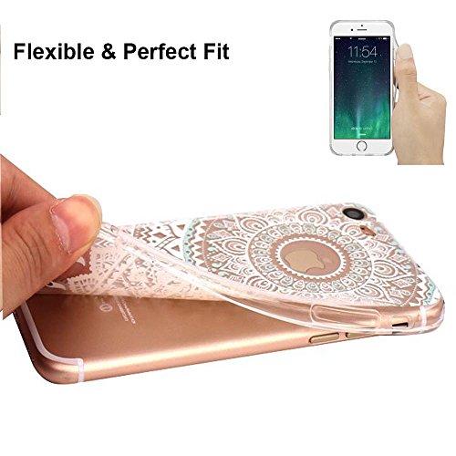 Coque iPhone 7 Plus Housse étui-Case Transparent Liquid Crystal Fleur en TPU Silicone Clair,Protection Ultra Mince Premium,Coque Prime pour iPhone 7 Plus(2016)-Blanc henne-mandala-blancmenthe
