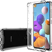 Crystal Clear Case for Samsung A21S, Heavy Duty Shockproof Bumper Hybrid Clear TPU Front Edge Full Body Cover