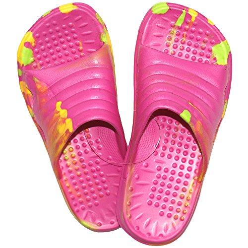 1 Paar Kinder Mädchen Badelatschen, Freizeitlatschen, Badepantoletten Größe: 32, pink-bunt