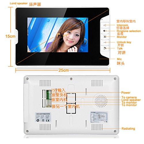 PUTECA White and Black 7 inch TFT LCD 700TVL 5 IR LED Night vision Camera Black Outdoor unit Wire Video Door Phone Doorbell Intercom System 1 VS 2