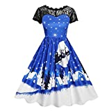 Luckycat Damen Vintage Spitze Kurzarm Print Weihnachten Party Swing Dress Abendkleider Cocktailkleid Partykleider Blusenkleid Mode 2018