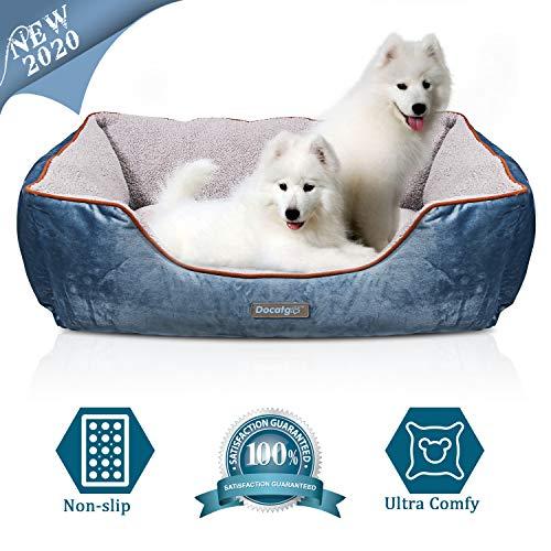 Docatgo Hundebett, Haustierbett, Haustierbett mit Wendekissen, Hundekorb, 80 x 60 x 26 cm maschinenwaschbares Komfortbett für mittelgroße große Hunde