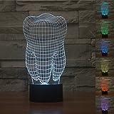 3D Tisch Nachttischlampen,KINGCOO 3D Optische Visualisierung LED Licht USB Schreibtischlampen Stimmungslichter Touch Schreibtisch 7 Farbwechsel Atmosphäre Lampe (Zahn)