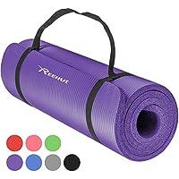 REEHUT Colchoneta de Yoga de NBR de Alta Densidad y Extra Gruesa de 12mm Diseñada para Pilates, Fitness y Entrenamiento/Correa Portátil(Púrpura)