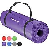 Reehut Tapis D'exercices de Yoga- 12 mm Très épais NBR Haute Densité, pour Pilates, Forme Physique et Entraînement, avec Sangle de Transport(Violet)
