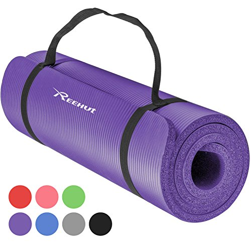 Reehut Tapis D'exercices de Yoga- 12 mm Très épais NBR Haute Densité, pour Pilates, Forme Physique et Entraînement, avec Sangle de...