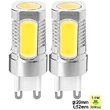 SUNIX Bombilla LED de Metal de Aluminio de Alta Potencia G9 7,5W LED COB, 2 Bombillas de Foco Blanco Cálido