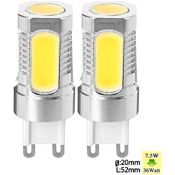 SUNIX Bombilla LED de Metal de Aluminio de Alta Potencia G9 7,5W LED COB, 2 Bombillas de Foco Blanco Cálido SU080