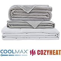 Gewichtsdecke für Erwachsene Therapiedecke Schafdecke Schwer Weighted Blanket Schwere Decke mit abnehmbaren Warm Fleece & Coolmax Bezüge, 150x200cm, 9kg