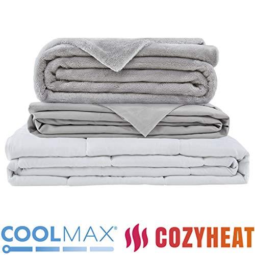Gewichtsdecke für Erwachsene Therapiedecke Schafdecke Schwer Weighted Blanket Schwere Decke mit abnehmbaren Warm Fleece & Coolmax Bezüge,152x203cm , 9KG