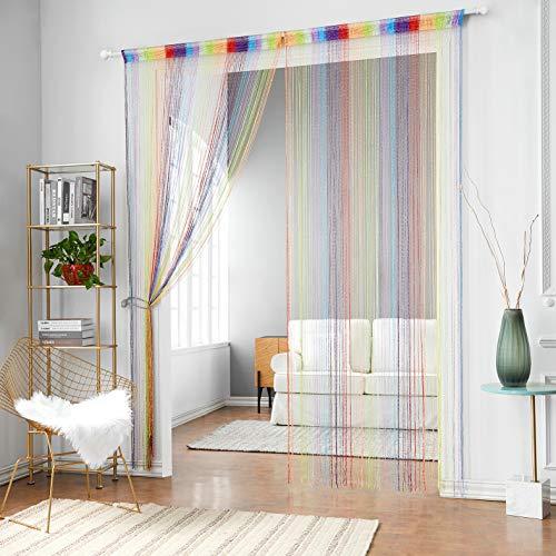 HSYLYM Glitzer-Fadenvorhang, Vorhangschals aus Silbernen Seidenschnüren, Quaste, Raumteiler, Dekoration für Ihr Zuhause, Polyester, Mehrfarbig 2, 90x245cm