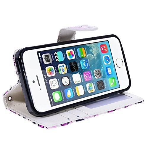 Etsue Case Cover for iPhone 6/6S 4.7,Copertura in Pelle/Leather Cover caso,Hand Embossed Varnish Leather Case,[Chiusura magnetica][assorbimento dello shock][anti-graffio],flip cover case for iPhone 6/ Piccola farfalla rosa
