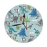 Leuke Dinosaur Dino wandklok stille niet-tikkende klokken duurzame delicate decoratieve klokken met Arabische cijfers Premium ronde klok 9.84 Inch stille bureau klok voor interieur