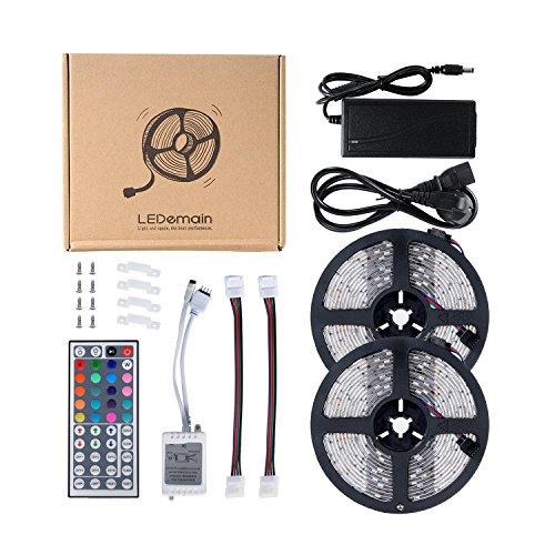 LEDemain 5050 Flexible Strip Light Complete Kit 10M 300 LEDs with 44 Keys IR Remote + 12V 6A UK Plug (Waterproof)