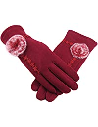 Demarkt 1 Paire Femme Gants Chauffants d'hiver Dentelle Mignon Petite Balle Coton Plein-Doigt Gants à écran Tactile avec pour Filles Ski Randonnée Sports Coupe-vent Gloves Rouge