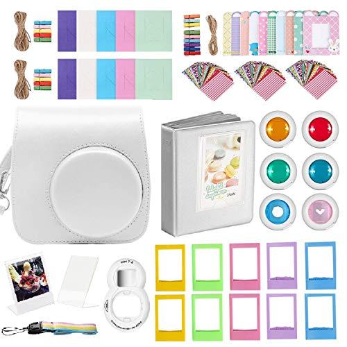 FollowSun 20-in-1 Sofortbildkameras Zubehör Kit für Fujifilm Instax Mini 9 Mini 8/8+: Kameratasche, Regenbogen Schultergurt, Album, Selfie-Objektiv, 6 Farbfilter, Rahmen, Aufkleber (Weiße) - Regenbogen-kamera-objektiv