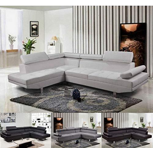 Bagno italia divano 270 cm angolare versione sinistra o destra tessuto pelle bianco testa di moro nero microfibra colore grigio modello lily i ad angolo
