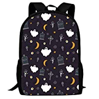BagMothe Halloween Ghost Tombstone Cross School Backpack Polyester Bookbag Student Fashion Bags for Boys Girls