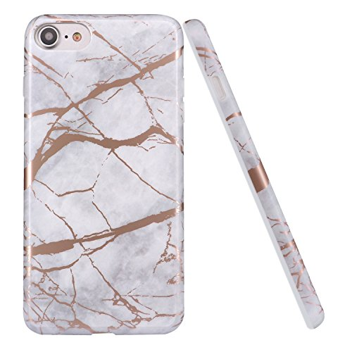Cover iPhone 6/6s,DOUJIAZ TPU Gel Silicone Protettivo Skin Custodia Protettiva Shell Case Cover Per Apple iPhone 6 6S - Oro Bianco Marmo Design Gray Rose Gold