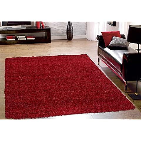 Cozy colección Shaggy Shaggy alfombra salón moderno y el dormitorio suave Shaggy área alfombra, polipropileno, Rojo, 150_x_210_cm