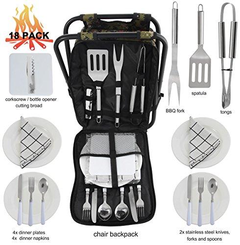 POLIGO Camping Grill Outils Set Kit dans Multi-Purpose Pliant Pique-Nique Chaise À Dos Tabouret avec Sac isotherme, Accessoires Complets Set pour Barb...