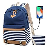 Zaino Donna Borsa Viaggio Canvas Rucksack Ragazze Adolescenti Scuola Studente Università 15.6 Pollici Laptop Notebook Taccuino Women USB Backpack Girls Travel Casual Bag Daypack Piccolo (2-Blu)