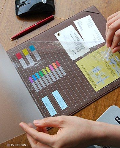 plepic Layered Beistelltisch–Mehrzweck Mini Leder Schreibunterlage Planer Aschbraun