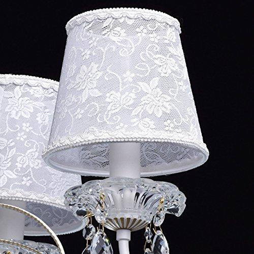 Eleganter Kronleuchter Metall weiße Stoffschirme 5 flammig Kristall klar - 5