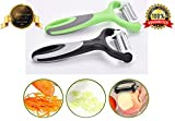 #5: Bagonia® 3-in-1 Rotational Vegetable Peeler, Julienne Slicer and Shredder | Ergonomic Handle | 3 Sharp Food Grade 420 Stainless Steel Blades | Perfect for Peeling and Julienning Potato, Carrot, Cucumber, Apple, Tomato | Versatile Kitchen Accessories (Colour may vary)