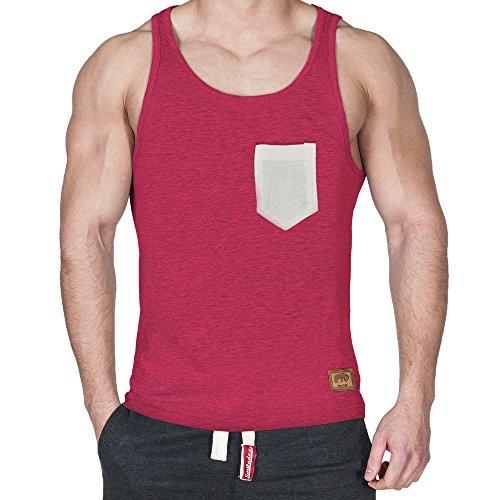 Smilodox Tank Top Pocket Rot Melange/Beige