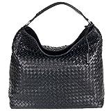 abro+ Piuma Flecht 027205-36-1091 Leder Damen Handtasche gesteppt 37x37x15cm black/silber