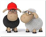 Mauspad / Mouse Pad aus Textil mit Rückseite aus Kautschuk rutschfest für alle Maustypen Motiv: 3D Schafe mit Brille und Baseballkappe - 02