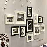 L&Y Cornice per foto da parete Combinazione di scatole di legno parete foto frame 11 di moderno minimalista in bianco e nero Cornice per foto
