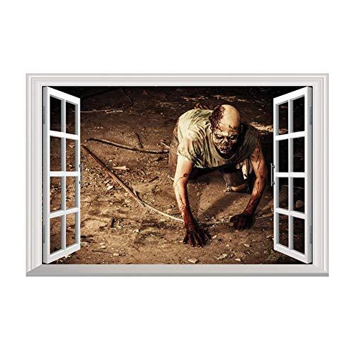 48x70 cm Schreckliche Halloween 3D Krabbeln Monster Zombie Fenster Wandtattoo Abnehmbare Tapeten für Wohnkultur (Multicolor) ()