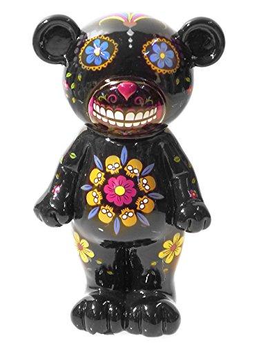 by-Bers böser Bär - die Spardose in sechs Farben, diesmal nicht als Totenkopf, Schädel, im Design vom Dia De Los Muertos Sugar Skull Tattoo (schwarz),
