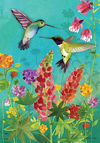 CHKWYN Hummingbird Greeting Spring House Flag Floral Birds for Party Outdoor Home Decor Size: 28-inches W X 40-inches H -