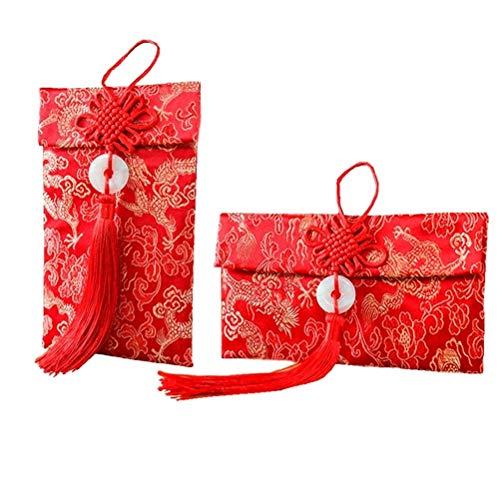 e, chinesisches Element, Seide, Rot, chinesische Glücksdrache, für Geschenkkarten, Hochzeit, Rot, für ca. 100 Blatt ()