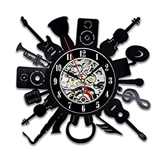 Musical Instruments Vinyl Record Wall Clock - Unique Modern Art Gift idea for Music Fans