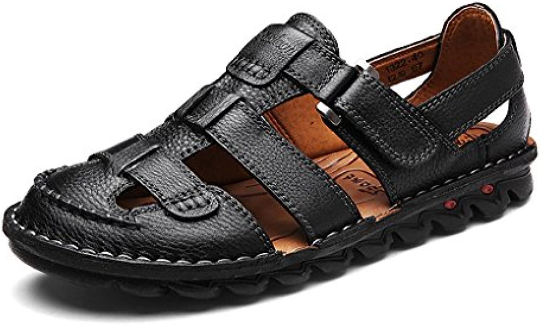 Hishoes Sandalen Herren Outdoor Leder Geschlossene Sandalen Sommer Hausschuhe Atmungsaktive Strandschuhe weisshem