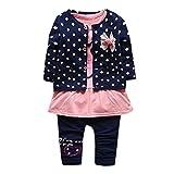 Saingace 3 pièces Bébé Bébé Fille Point Chemise + Des gamins Pantalons + Extérieur Princesse vêtements Ensemble