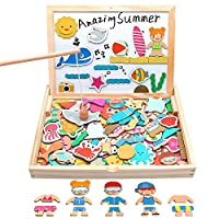 yoptote Wooden Toy Double-sided Magnetic Drawing Board Fishing Game Jigsaw 3D Puzzles Beach Dress Up 3 in 1 Gifts for Girls Boys Kids Aged 3+ (110 PCS)