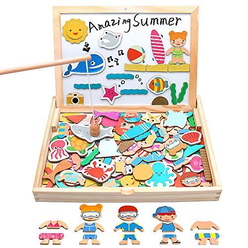 yoptote 110 Piezas Puzzles de Madera Magnético,Pizarra Magnética Rompecabezas Madera Tablero de Dibujo de Doble Cara Juguete Educativo Pesca para Niños 3 4 5 Años