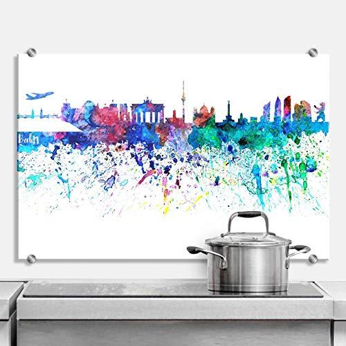 Spritzschutz Bleichner - Berlin Aquarell Skyline Stadt Hauptstadt Sehenswürdigkeiten Farbkleckse Küche Küchenrückwand bunt mit Wandhalterung Wall-Art - -