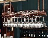 MoDi Weinglas-Gestell, Suspendierung kreatives Wein-Gestell, gedrehtes Eisen-Rotweinglas-Rahmen, Bar-Haushalts-Wein-Schalen-Halter Weinregale - Bronze/Schwarz 60/80/100 / 120cm(größe : 60 * 35cm)
