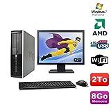 Lot PC HP Compaq 6005 Pro SFF AMD 3GHz 8gb 2To Burner WIFI Win 7 Pro + 17