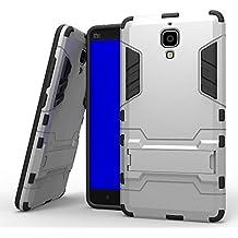 Xiaomi Mi4 M4 Funda, YEESOON Híbrida Rugged Armor Case Choque Absorción Protección Dual Layer Durable Bumper Carcasa con pata de Cabra para Xiaomi Mi4 M4 (Plata)