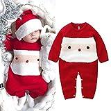Pwtchenty Baby Strampler Xmas Knit Jumpsuit Weihnachts-Onesies Bekleidung Warme Winter Outfits Kleidung Spielanzug Kleidung