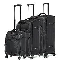 Aerolite 3-Piece Luggage Suitcase Set with 8 Wheels, Black